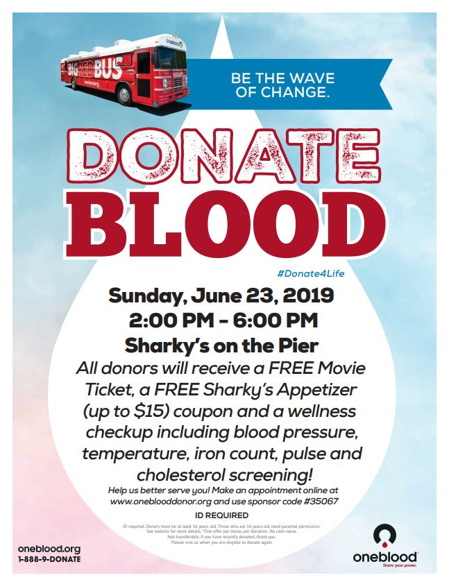 #Donate4Life at Sharky's on the Pier's Blood Drive