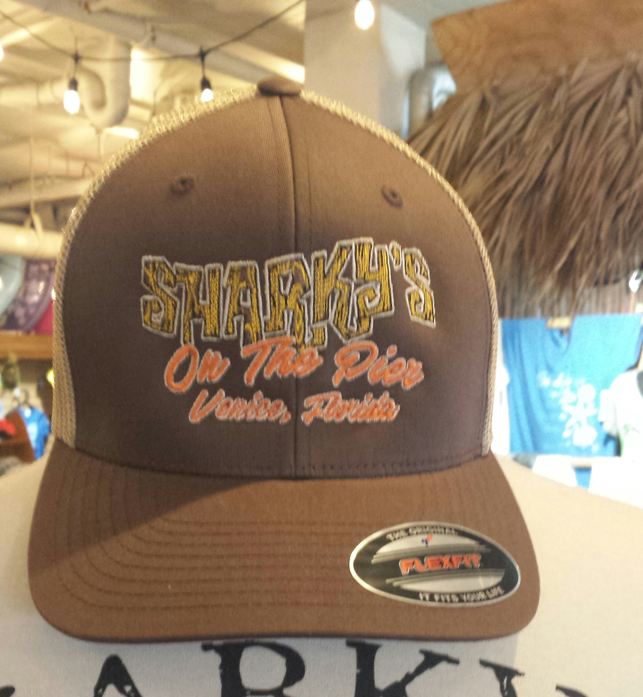 Sharky's Flex Fit Ball Cap Brown