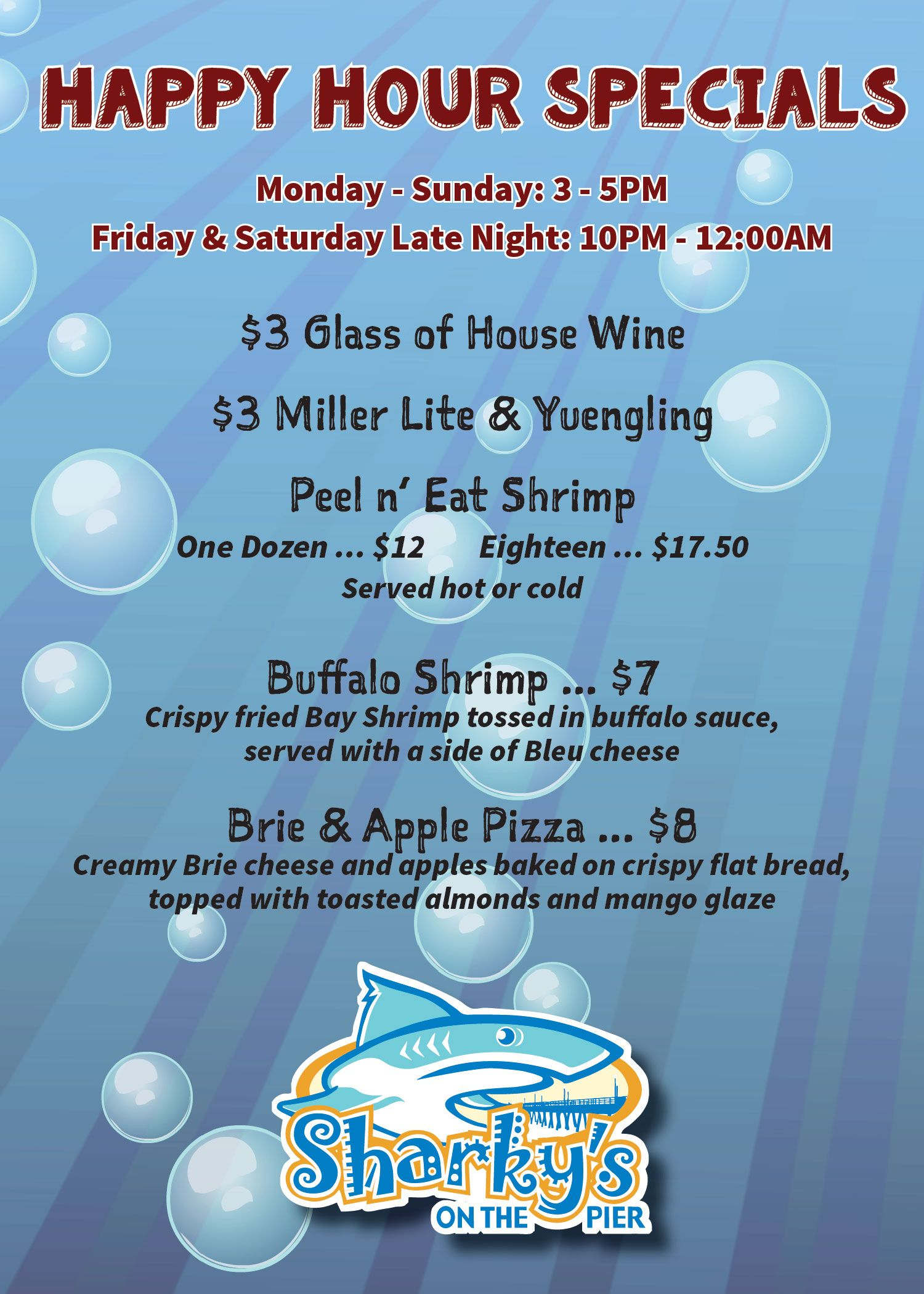Sharkys Happy Hour Menu 1.29.19